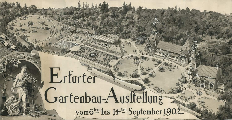 Alte Ankündigung zur Gartenbauausstellung in Erfurt