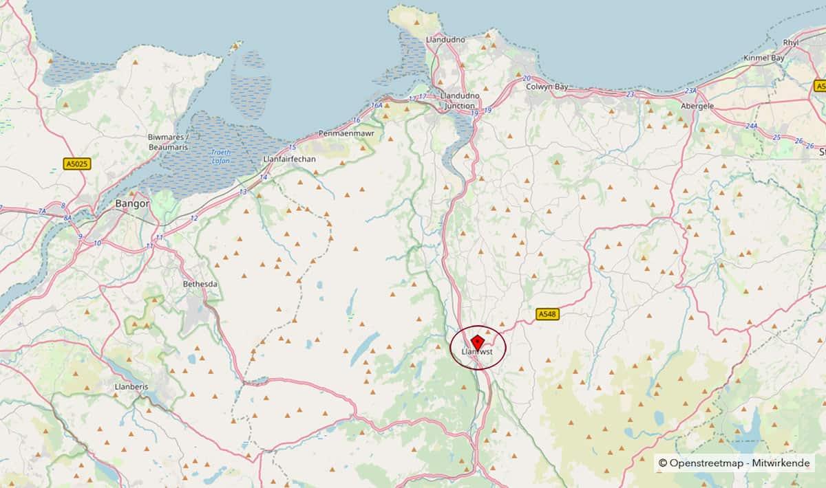 Karte von Nordwales