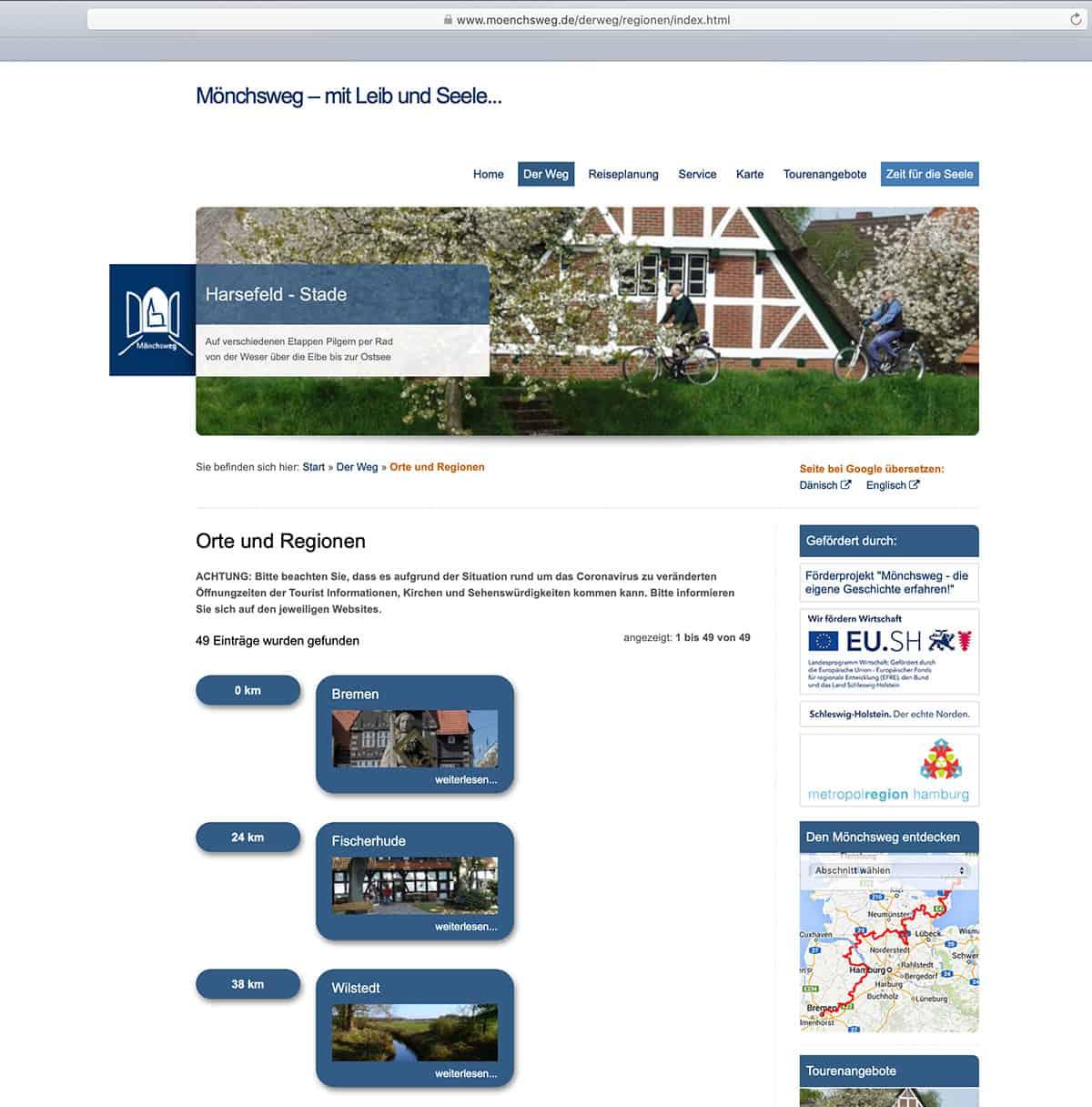 Website des Mönchsweg