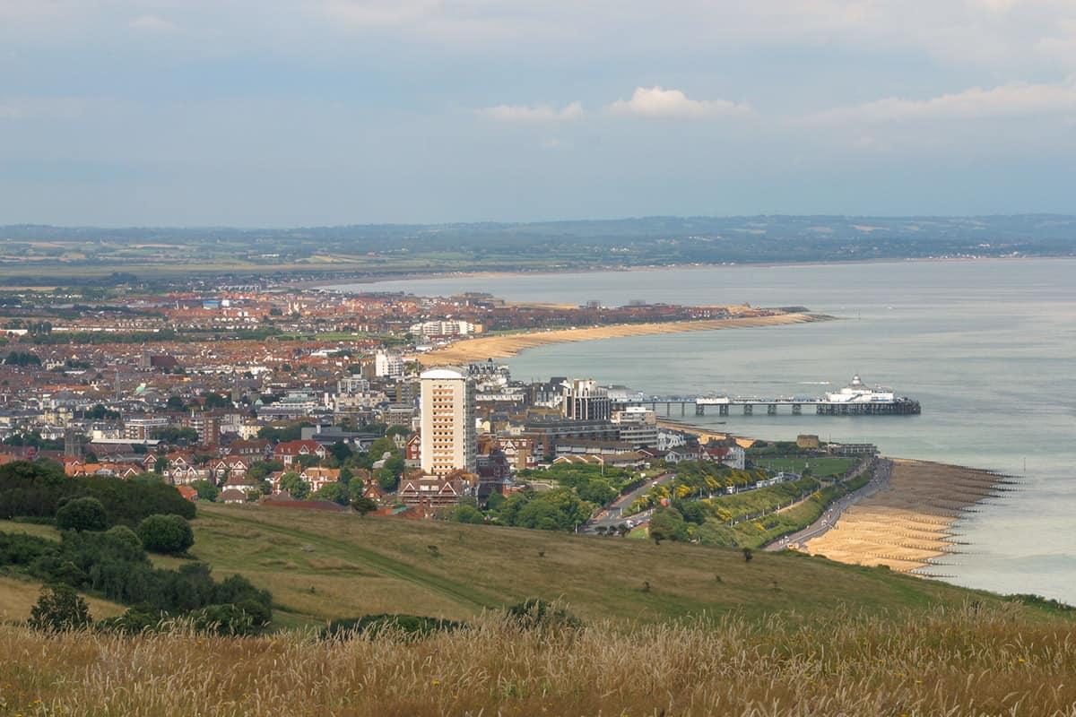 Eastbourne vom Beachy Head aus betrachtet