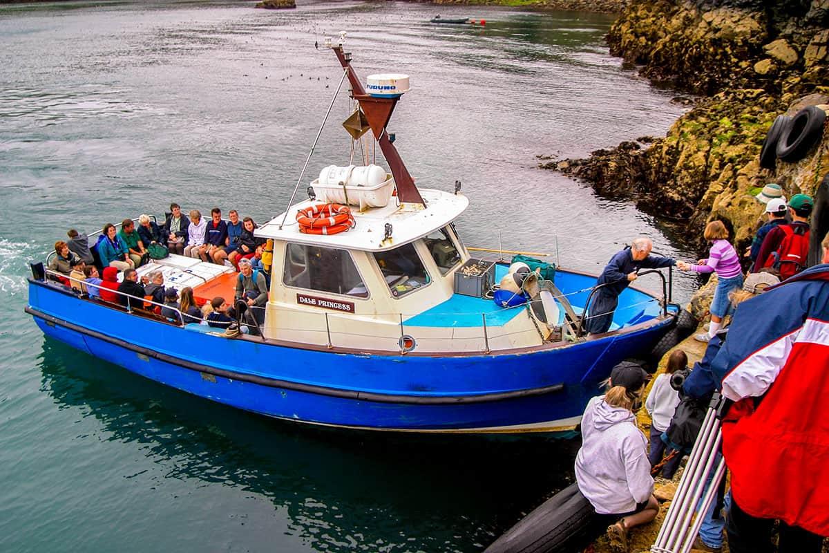 Besucher erreichen mit dem Schiff Skomer